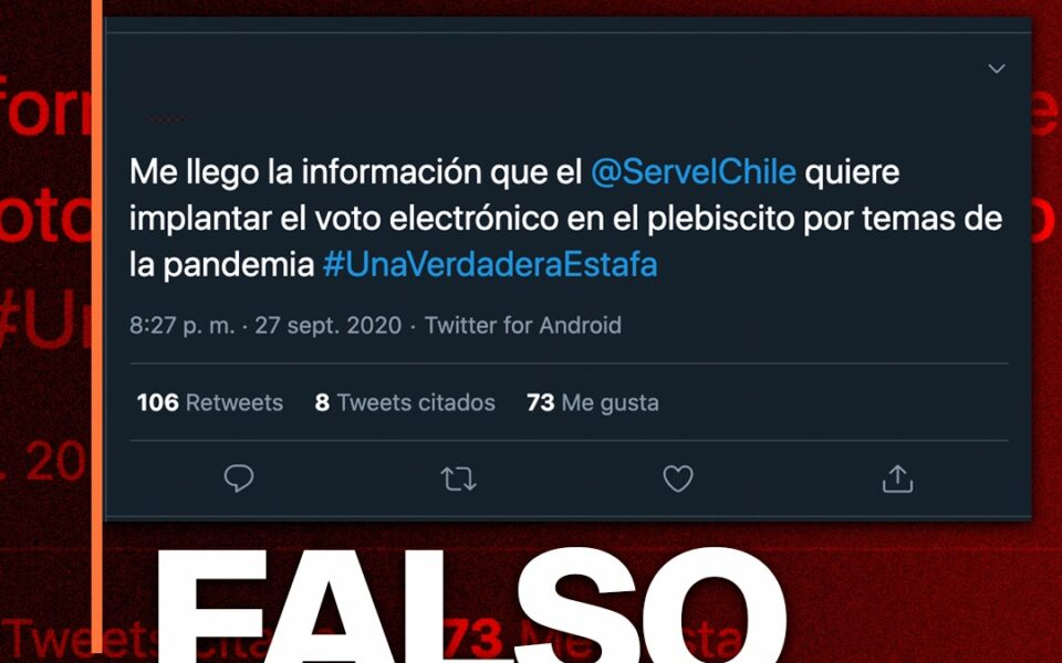 Es falso que el Servel quiere implementar el voto electrónico para el plebiscito