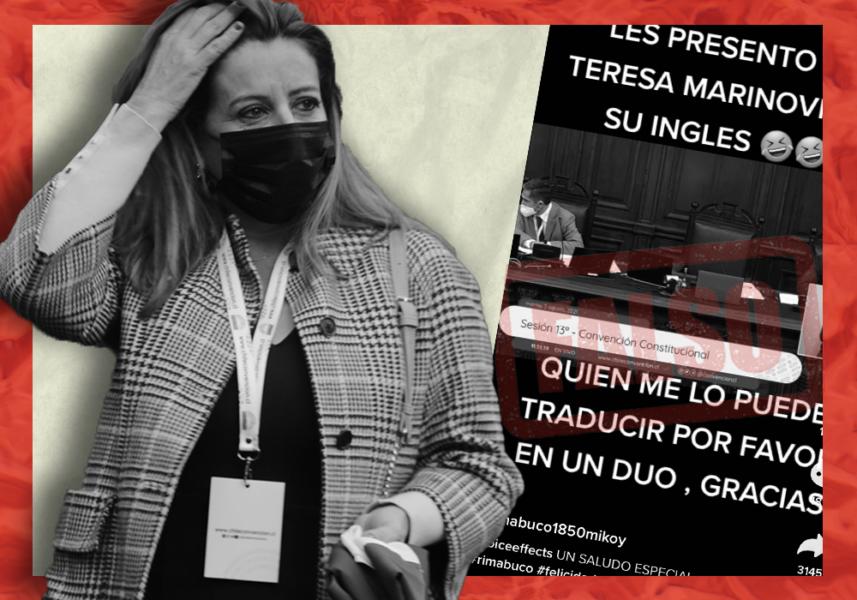 Es falso el video de Teresa Marinovic hablando inglés en la Convención