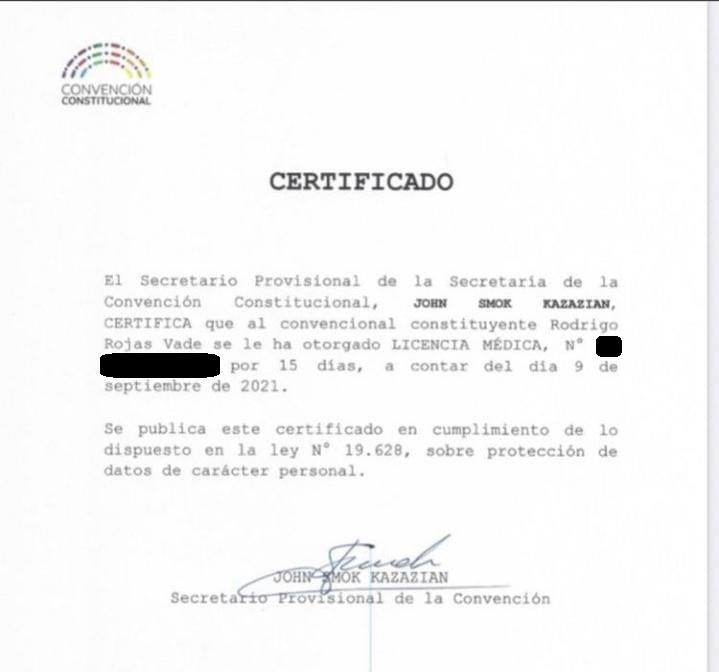 Rodrigo Rojas presentó licencia médica